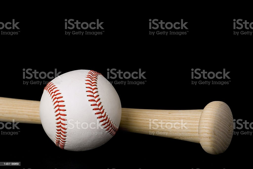 Bat and Ball on Black royalty-free stock photo