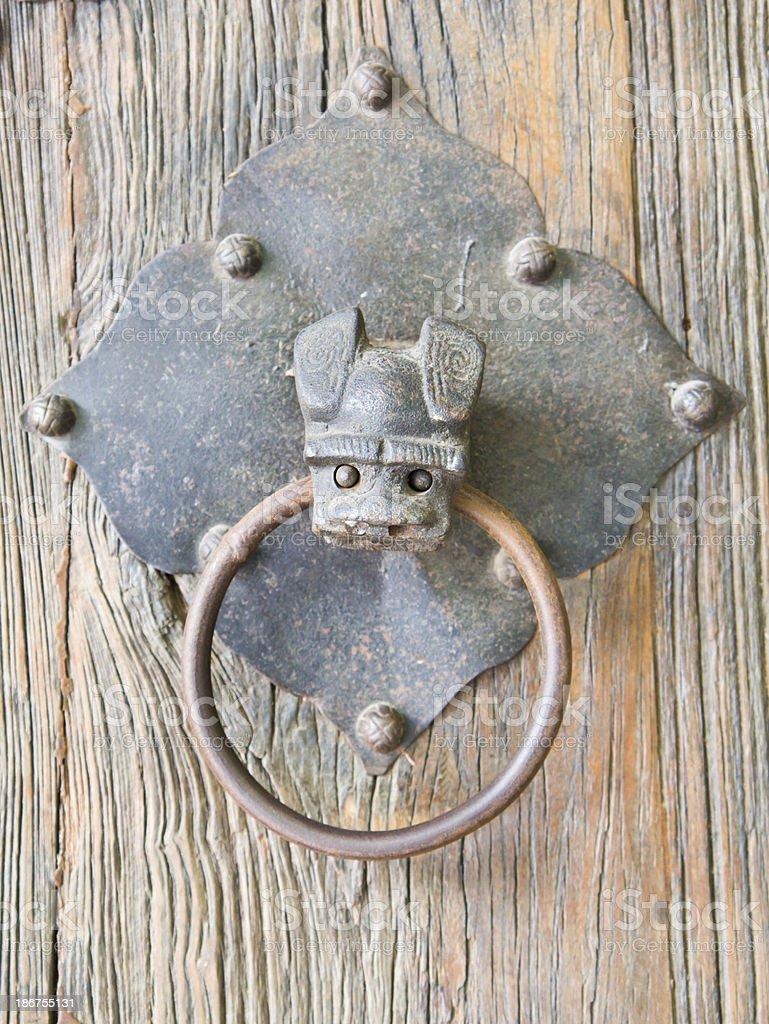 Bat head, brass door knocker royalty-free stock photo
