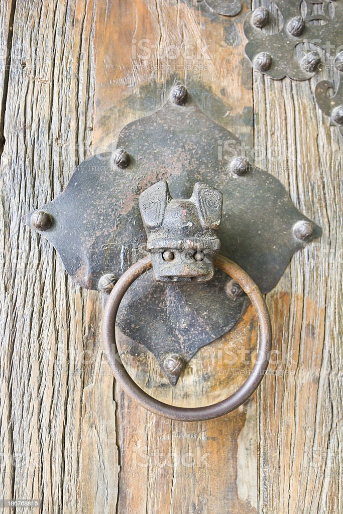 Bat head, brass door knocker royalty-free stock photo