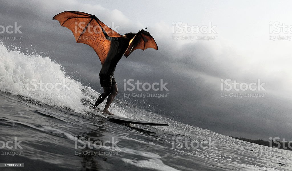 Bat human surfing a wave royalty-free stock photo