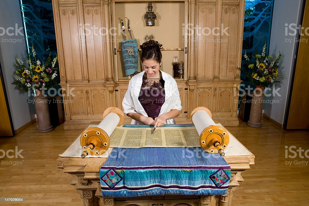 Bat Mitzvah | Reading from the Torah stock photo