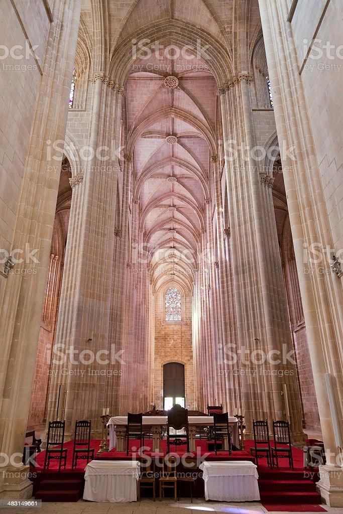 Batalha Monastery. Altar and Nave of the Church stock photo