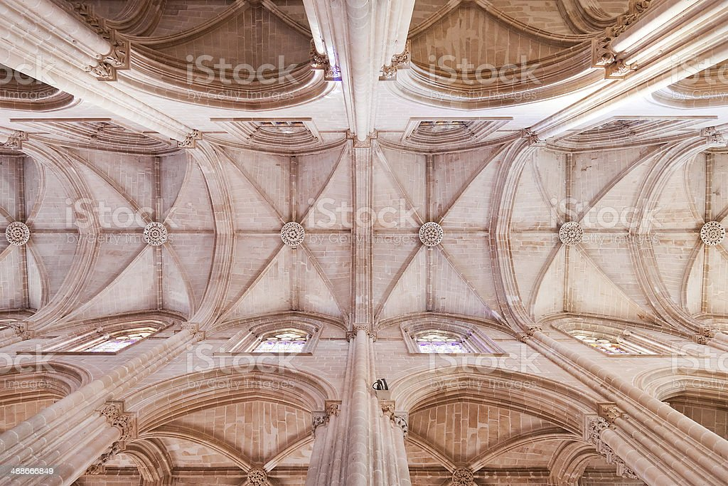 Batalha Monastery. Gothic ceiling and columns of the church royalty-free stock photo
