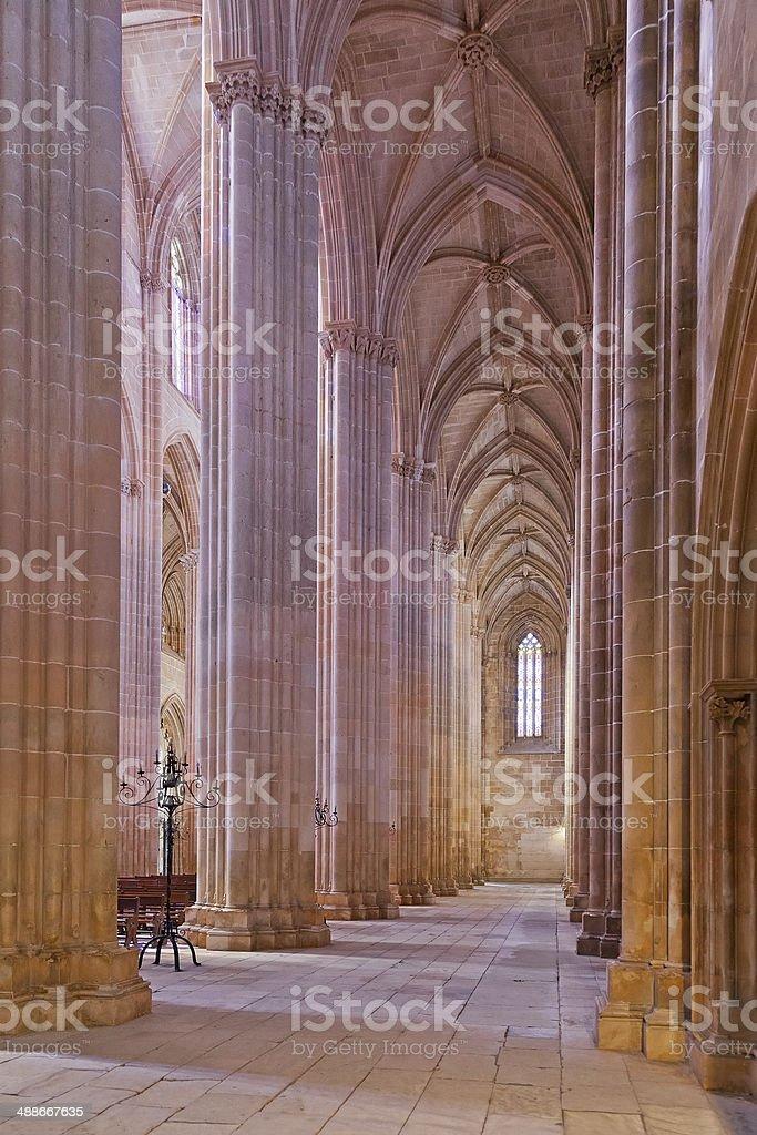 Batalha Monastery. Secondary nave and aisle of the Church stock photo