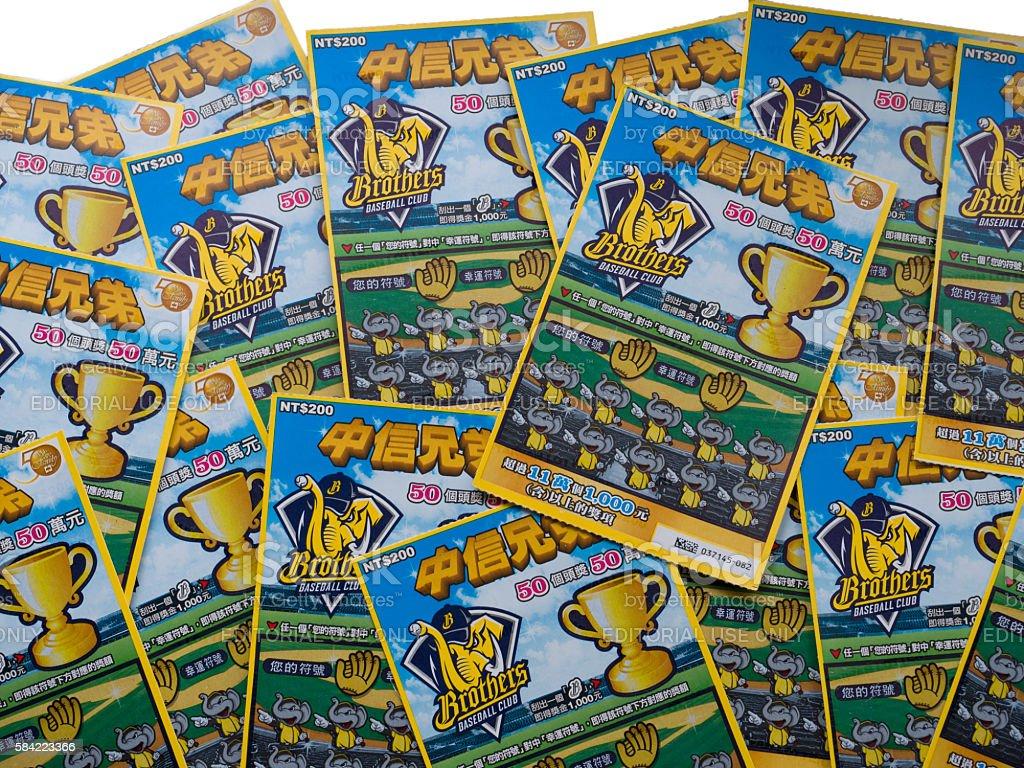 Batch of Taiwan Lottery scratch tickets stock photo
