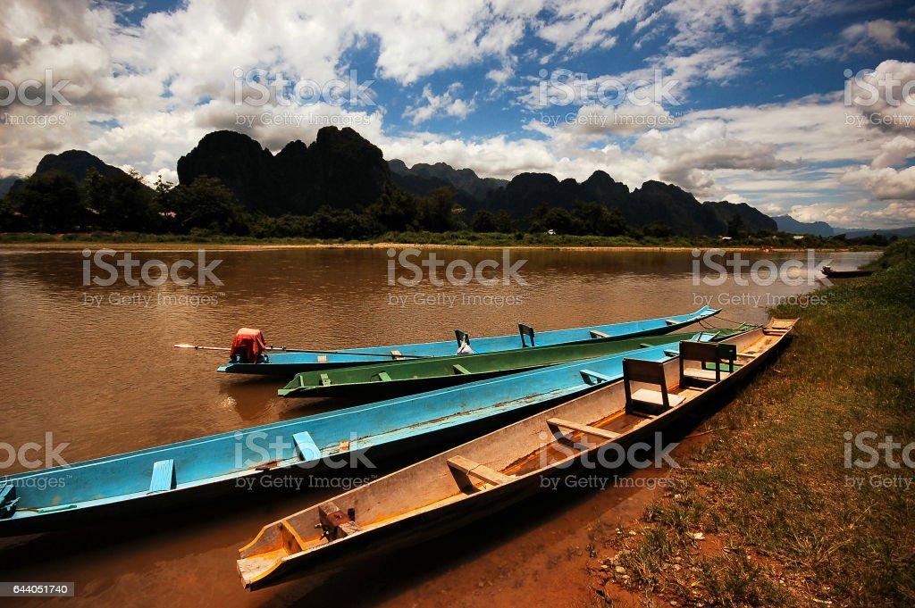 Bateaux, Vang Vieng, Laos stock photo
