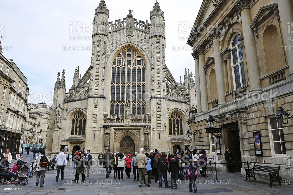 Bath Abbey and the Roman Baths stock photo