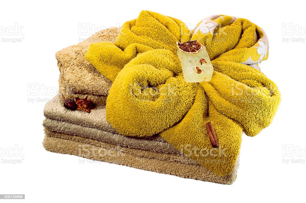 Bath accessories: diffrent of towels and soap isolated stock photo