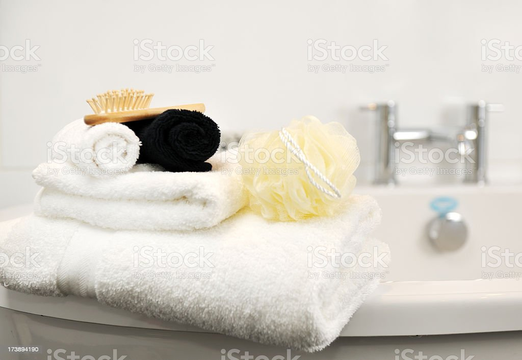Bath accessories set out for a relaxing bath time stock photo