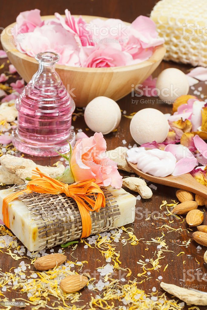 Bath and body natural skin care ingredients stock photo