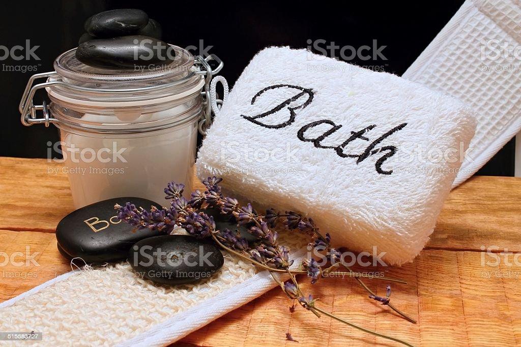 Bath and lava stones stock photo
