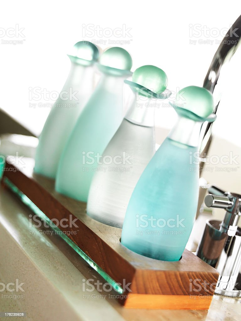 Bath and spa items in luxury resort bathroom stock photo