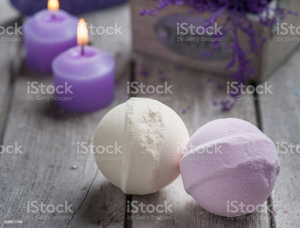 SPA Bath Bombs closeup stock photo