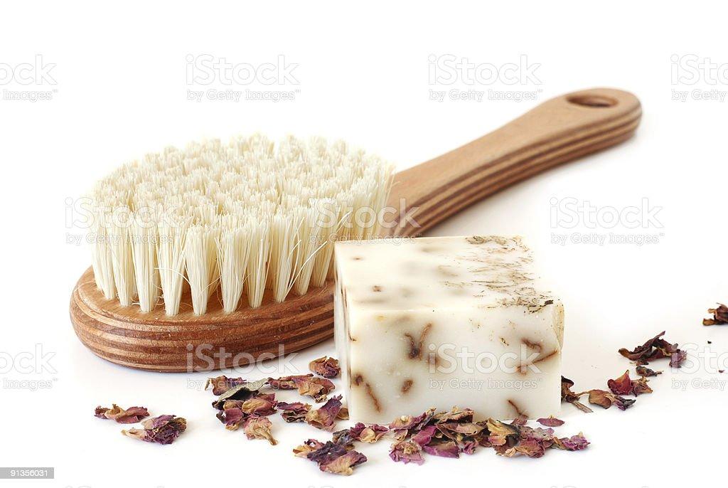 Bath brush and rose soap royalty-free stock photo