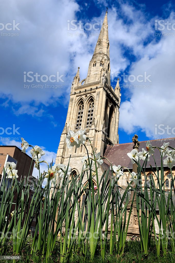 Bath Church Cathedral and Flowers, United Kingdom royalty-free stock photo