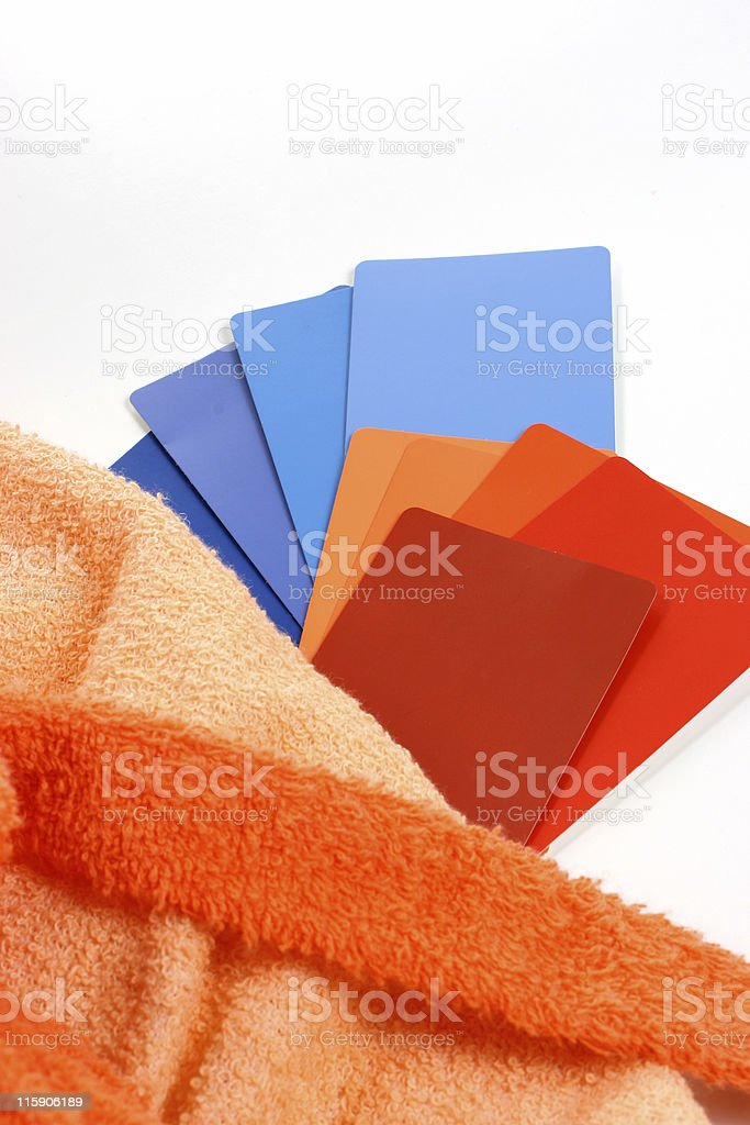 Bath colors with paint samples and terry cloth royalty-free stock photo