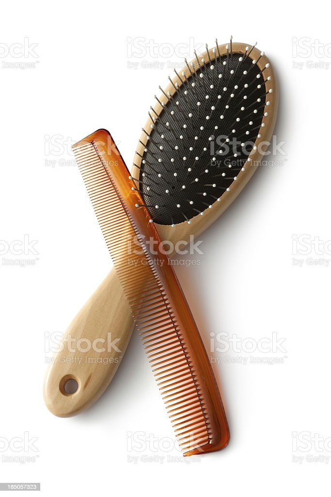 Bath: Comb and Hairbrush stock photo