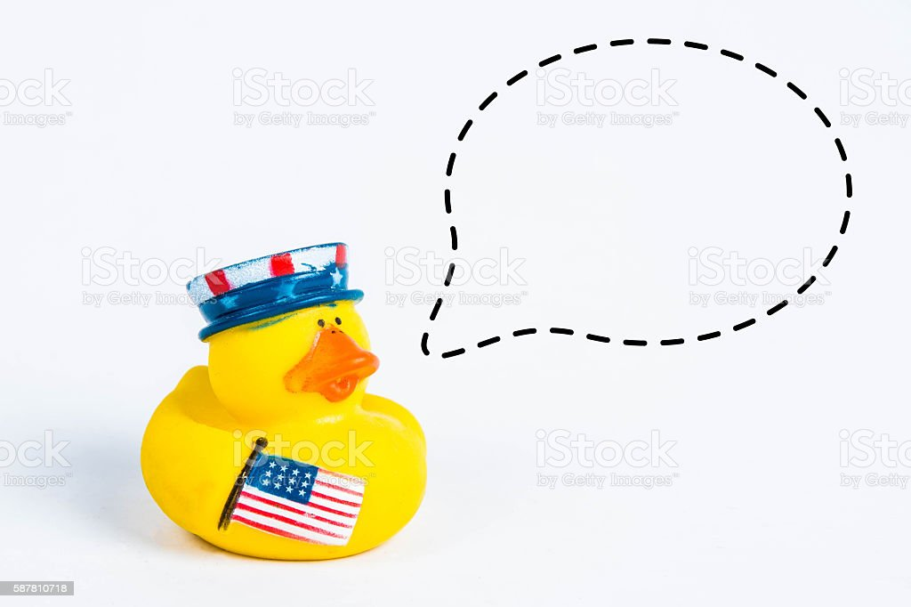 bath duck with with callout symbol stock photo
