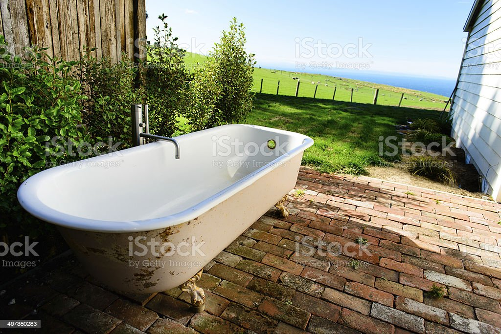 Bath in the Garden stock photo