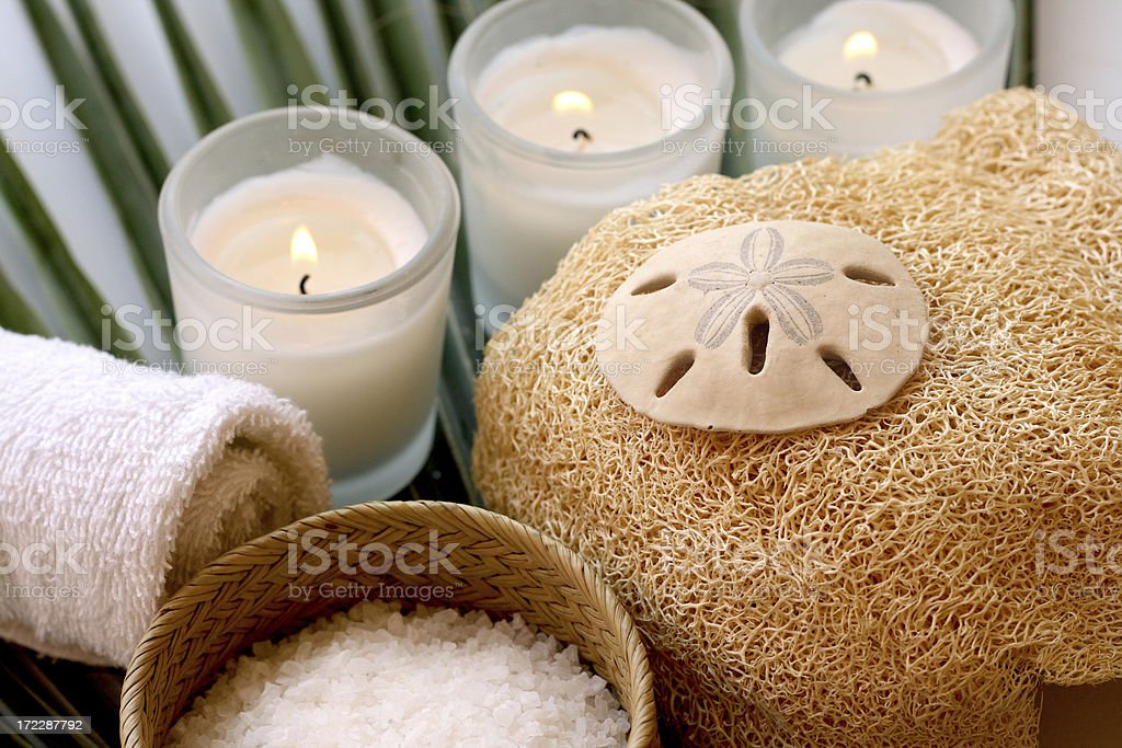 bath items and candles royalty-free stock photo