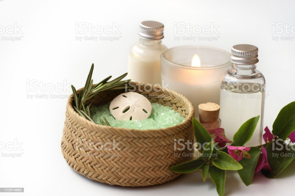 bath items with candle royalty-free stock photo
