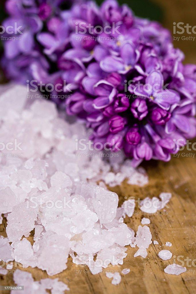 bath salt and lilac flower royalty-free stock photo