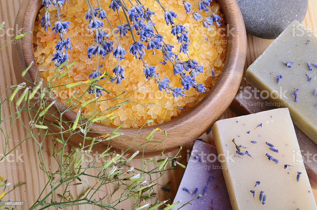 Bath salt and soaps royalty-free stock photo