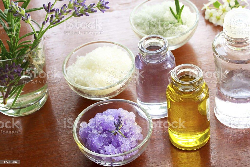 Bath salt with aromatherapy oil royalty-free stock photo