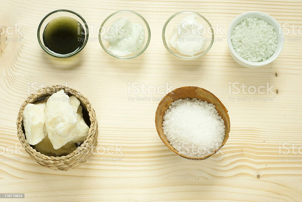 Bath salts, cosmetic creams stock photo