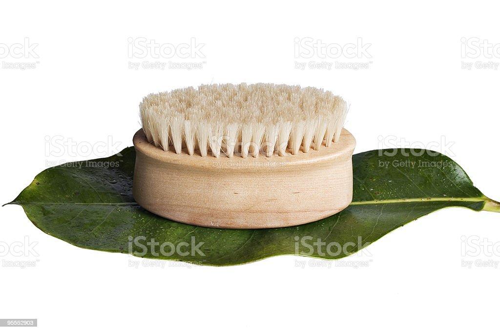 Bath scrub on leaf royalty-free stock photo