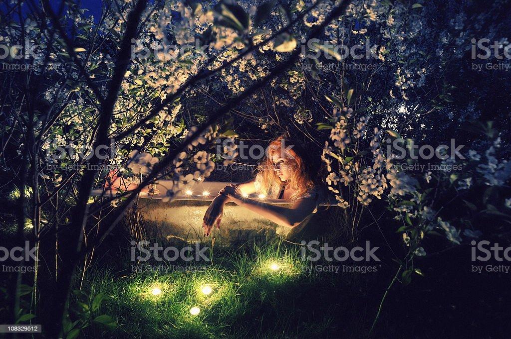 bath spring evening stock photo