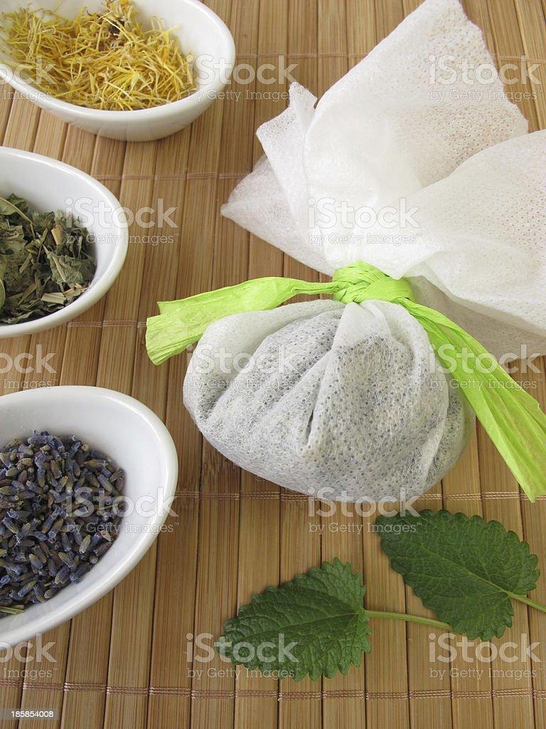 Bath teabag with herbs royalty-free stock photo