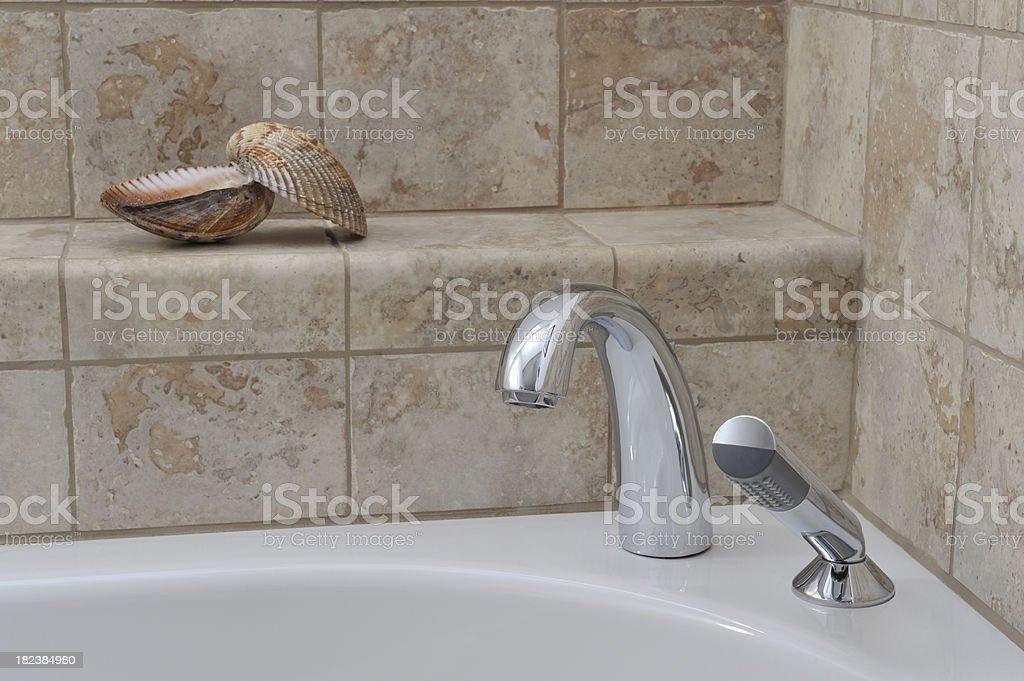 Bath Tiles Faucet And Seashell Bathroom Scene stock photo 182384980 ...