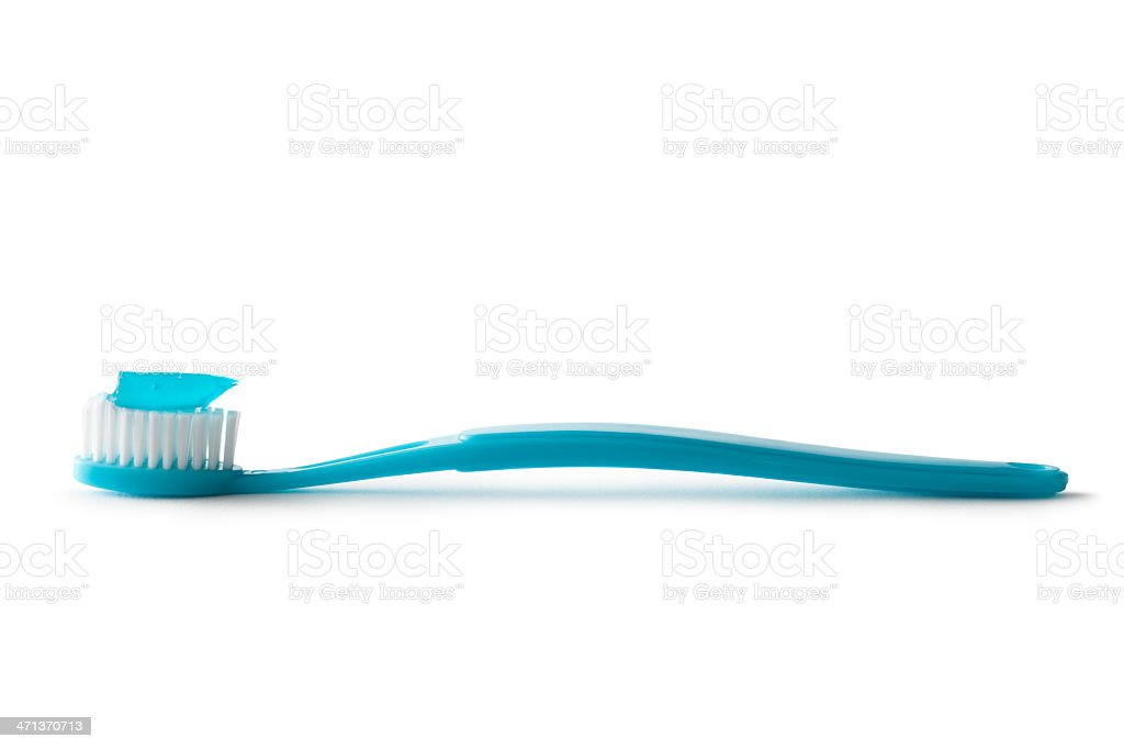 Bath: Toothbrush and Toothpaste Isolated on White Background stock photo