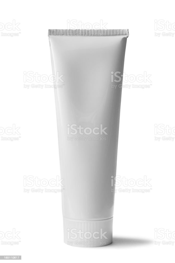 Bath: Toothpaste Isolated on White Background stock photo