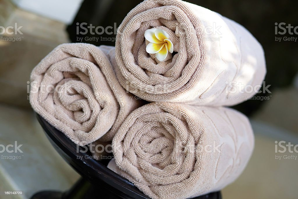 Bath towel rolled royalty-free stock photo