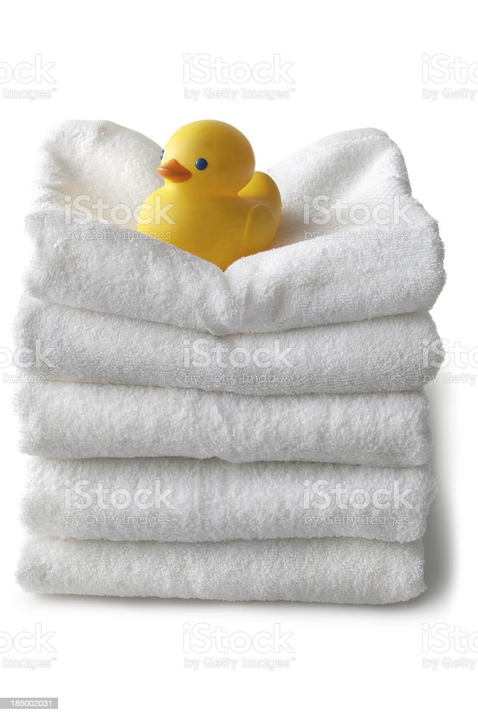 Bath: Towels and Rubber Duck Isolated on White Background royalty-free stock photo