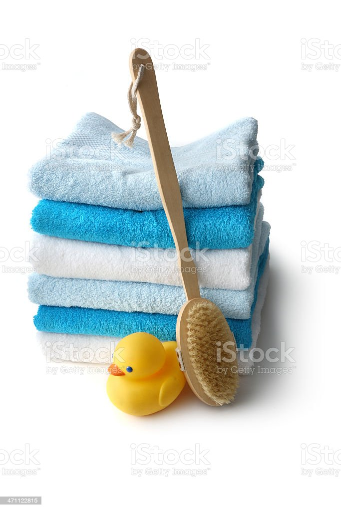 Bath: Towels, Rubber Duck and Bath Brush royalty-free stock photo