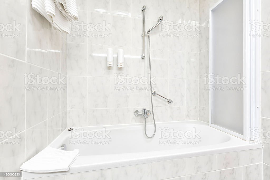 Bath tub and shower stock photo