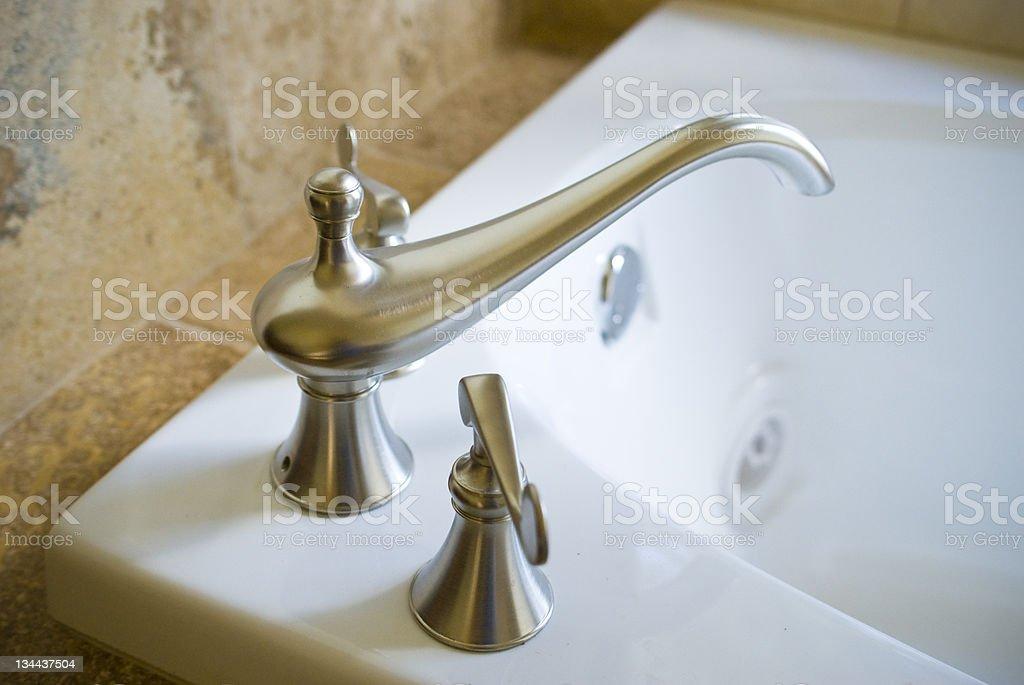Bath Tub Faucet Spout Close Up Detail royalty-free stock photo