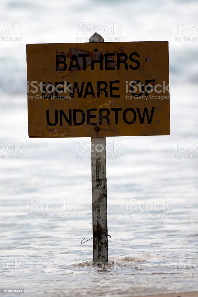 Bathers Beware Sign stock photo