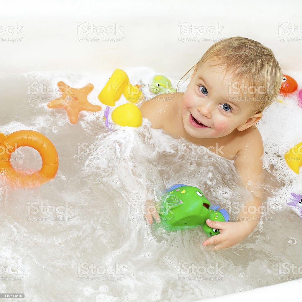 Bathing Baby royalty-free stock photo