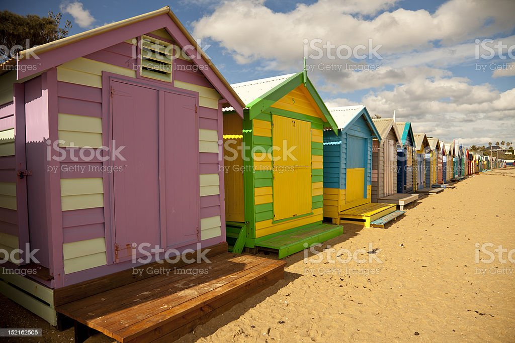 Bathing boxes on the Beach stock photo