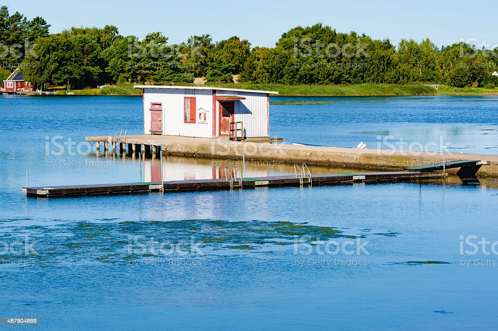Bathing cabin stock photo