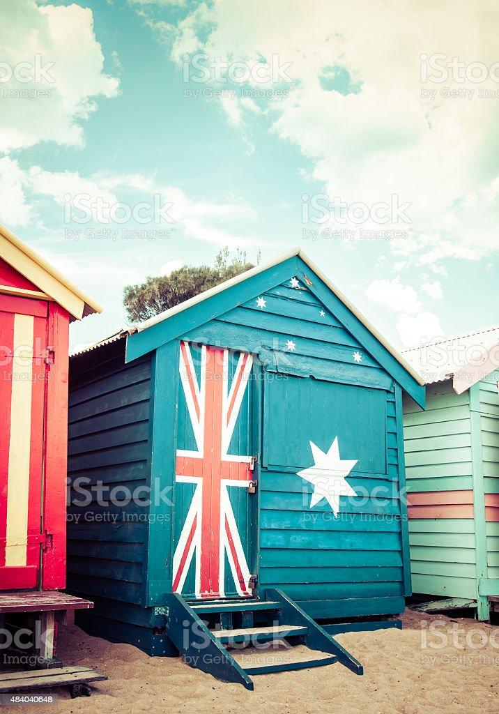 Bathing houses at Brighton Beach, Australia stock photo