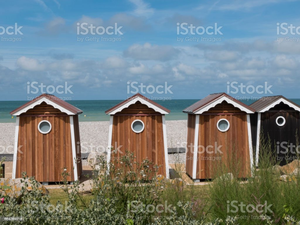 Bathing hut overlooking the Celtic Sea stock photo