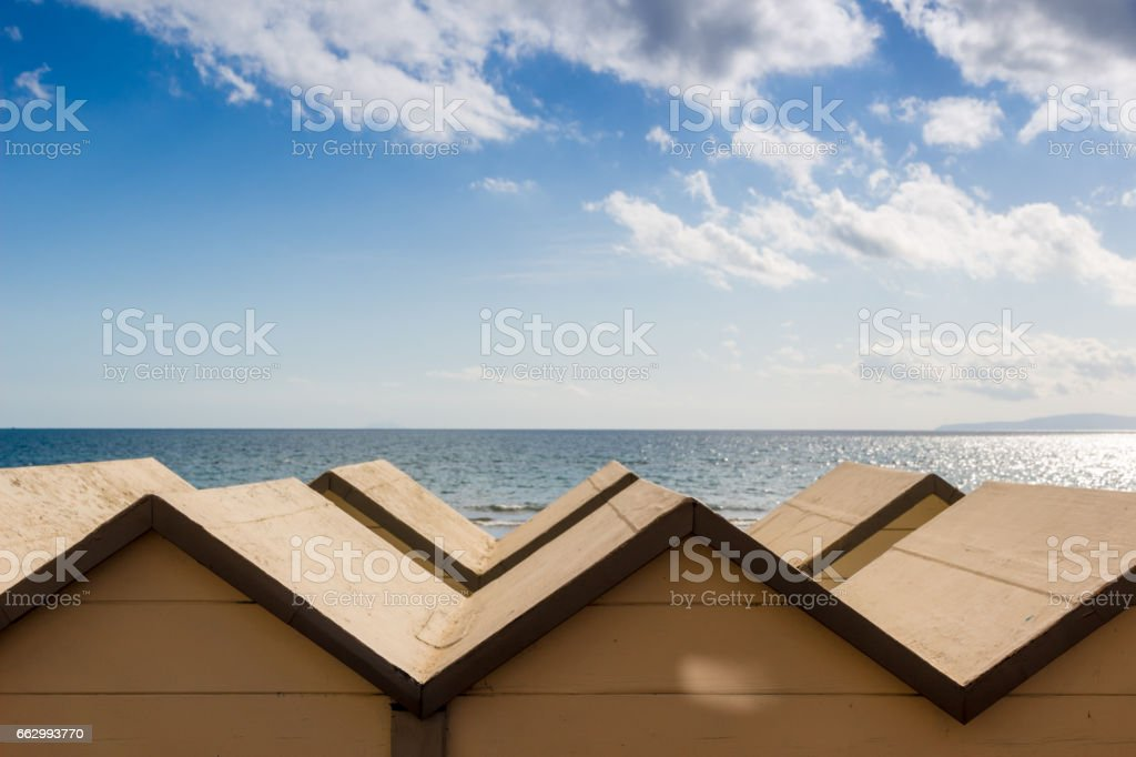 Bathing huts in Follonica waterfront, Italy stock photo