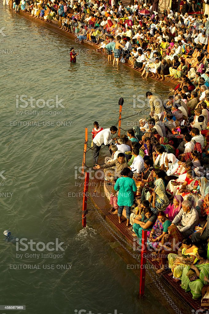 bathing in ganges river stock photo