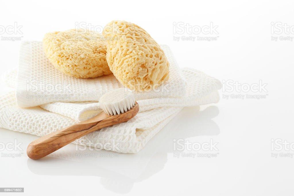 Bathing supplies stock photo