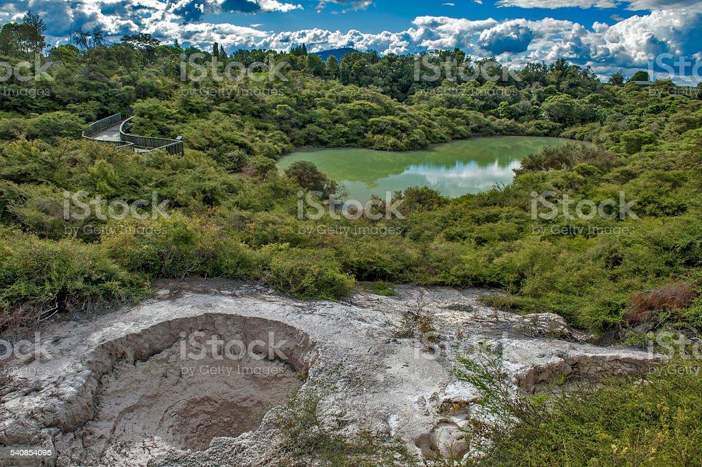 Bathing waters of Hatupatu in geothermal valley of Rotorua, stock photo